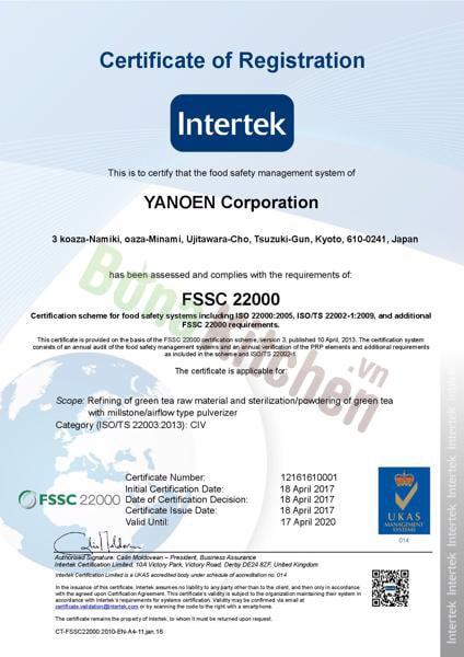 chứng nhận sản phẩm công ty YANOEN